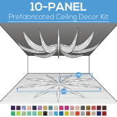 10 Panel Kit - Prefabricated Ceiling Drape Kit - 60ft Diameter - Select Drop, Fabric kind, and Color! Option for all Attachments!