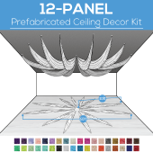 12 Panel Kit - Prefabricated Ceiling Drape Kit - 60ft Diameter - Select Drop, Fabric kind, and Color! Option for all Attachments!