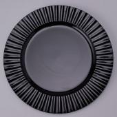 "Decostar™ Plastic Charger Plate 13"" - Shiny Foil Finish - Black - 24 Pieces"