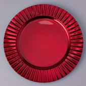 "Decostar™ Plastic Charger Plate 13""- Shiny Foil Finish - Red - 24 Pieces"