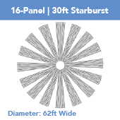 16-Panel Starburst 30ft Ceiling Draping Kit (62 Feet Wide)