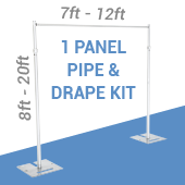 DELUXE-Single Panel Pipe and Drape Kit / Backdrop - 8-20 Feet Tall (Adjustable) Comes W/ 3 Piece Uprights for Maximum Height Adjustment