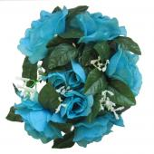 "Decostar™Large Flower Candle Rings 9"" - 48 Pieces - Turquoise"