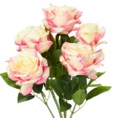 "Decostar™ Artificial Deluxe Elegant Rose Bundle 21½"" - 6 Pieces - Ivory/Pink"