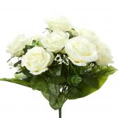 "Decostar™ Artificial Deluxe Rose Bouquet 12"" - 12 Pieces - Cream"