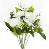 "Decostar™ Artificial Rose and Lily Branch 10½ x 15"" - 24 Pieces - White"