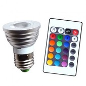 3 Watt LED RGB Color-Change Projection Bulb w/ Remote Control