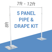 5-Panel Pipe and Drape Kit / Backdrop - 8 Feet Tall (Non-Adjustable)