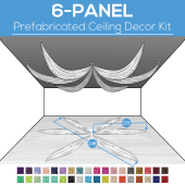 6 Panel Kit - Prefabricated Ceiling Drape Kit - 24ft Diameter - Select Drop, Fabric kind, and Color! Option for all Attachments!