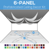 6 Panel Kit - Prefabricated Ceiling Drape Kit - 60ft Diameter - Select Drop, Fabric kind, and Color! Option for all Attachments!
