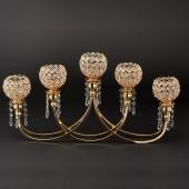 "Decostar™ Crystal Bead Tabletop Low Candelabra 13¼"" - Gold"