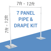 7-Panel Pipe and Drape Kit / Backdrop - 7-12 Feet Tall (Adjustable)