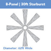 8-Panel Starburst 30ft Ceiling Draping Kit (62 Feet Wide)