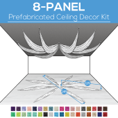 8 Panel Kit - Prefabricated Ceiling Drape Kit - 24ft Diameter - Select Drop, Fabric kind, and Color! Option for all Attachments!