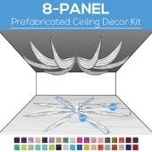 8 Panel Kit - Prefabricated Ceiling Drape Kit - 80ft Diameter - Select Drop, Fabric kind, and Color! Option for all Attachments!