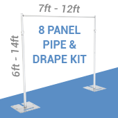 DELUXE-8 Panel Pipe and Drape Kit / Backdrop - 6-14 Feet Tall (Adjustable) Comes W/ 3 Piece Uprights for Maximum Height Adjustment