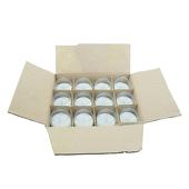"DecoStar™ White 2.5"" x 2.5"" 10 Hr Roly Poly Glass Filled Votive Candle - Box Of 24"