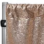 "Champagne Sequin Backdrop Curtain w/ 4"" Rod Pocket by Eastern Mills - 14ft Long x 4.5ft Wide"