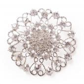 DecoStar™ JUMBO Round Ornate Diamond-Studded Brooch in Silver
