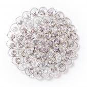 DecoStar™ Large Concentric Non-Iridescent Gemstone Brooch in Silver
