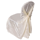 Premium Taffeta (Chameleon) Fabric Chair Cover By Eastern Mills in Ivory - Universal Fit!