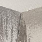 "Square 90"" x 90"" Sequin Tablecloth by Eastern Mills - Premium Quality - Silver"