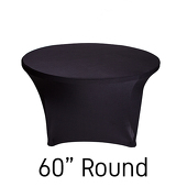 "60"" Round Spandex Table Cover - Black"