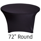 "72"" Round Spandex Table Cover - Black"