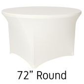 "72"" Round Spandex Table Cover - Ivory"