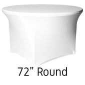 "200 GSM Grade A Quality 72"" Round Spandex Table Cover - White"