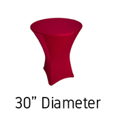 "Spandex Hi-Boy Table Cover - Apple Red - Cocktail Table - 30"" Diameter"