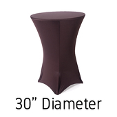 "Spandex Hi-Boy Table Cover - Chocolate Brown - Cocktail Table - 30"" Diameter"