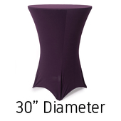 "Spandex Hi-Boy Table Cover - Plum - Cocktail Table - 30"" Diameter"