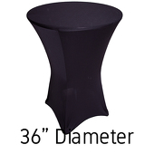 "Spandex Hi-Boy Table Cover - Black - Cocktail Table - 36"" Diameter"