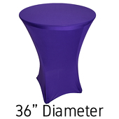 "Spandex Hi-Boy Table Cover - Purple - Cocktail Table - 36"" Diameter"