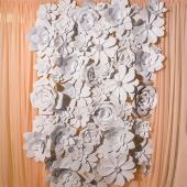 DecoStar™ 84 Piece Assorted Foam Flower Kit for 8ft x 8ft Wall - Variety of Sizes and Styles - White