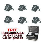 5 in 1 Battery Powered, Wireless DMX Flat LED Light - 6 Pack - FREE RECHARGING FLIGHT CASE