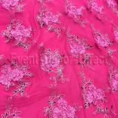 Fuchsia - Flourishing Mesh Lace Overlay by Eastern Mills - Many Size Options