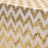 "Rectangle Chevron 90"" x 156"" Sequin Tablecloth by Eastern Mills - Gold"
