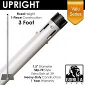 "Valu Series - 3ft 1.5"" Fixed Upright w/Chrome Cap"
