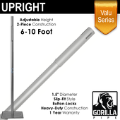 "Valu Series - 6-10ft Adjustable Slip-Fit 1.5"" Upright"