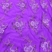 Purple - Flourishing Mesh Lace Overlay by Eastern Mills - Many Size Options