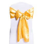 "DecoStar™ Gold Deco Satin Chair Sash - 8"" x 108"" - 10 PACK"