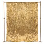 "Gold Sequin Backdrop Curtain w/ 4"" Rod Pocket by Eastern Mills - 8ft Long x 6ft Wide"