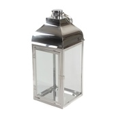 DecoStar™ Chrome Metal Lantern with Glass Sides - Large