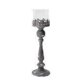 DecoStar™ Vintage Grey/White Antiqued Raised Pedestal Base W/ Glass Cylinder Topper - Small - 24.5