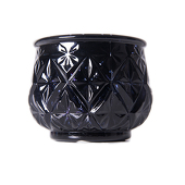 "DecoStar™ 2 1/2"" Glam Diamond Etched Mercury Glass Candle/Votive Holder - Black - 6 PACK"