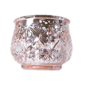 "DecoStar™ 2 1/2"" Glam Diamond Etched Mercury Glass Candle/Votive Holder - Champagne - 6 PACK"