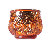 "DecoStar™ 2 1/2"" Glam Diamond Etched Mercury Glass Candle/Votive Holder - Coral - 6 PACK"