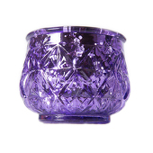 "DecoStar™ 2 1/2"" Glam Diamond Etched Mercury Glass Candle/Votive Holder - Purple - 6 PACK"